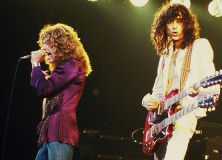 Jimmy Page with Robert Plant of Led Zeppelin, in 1977