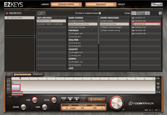 EZKeys MIDI browser