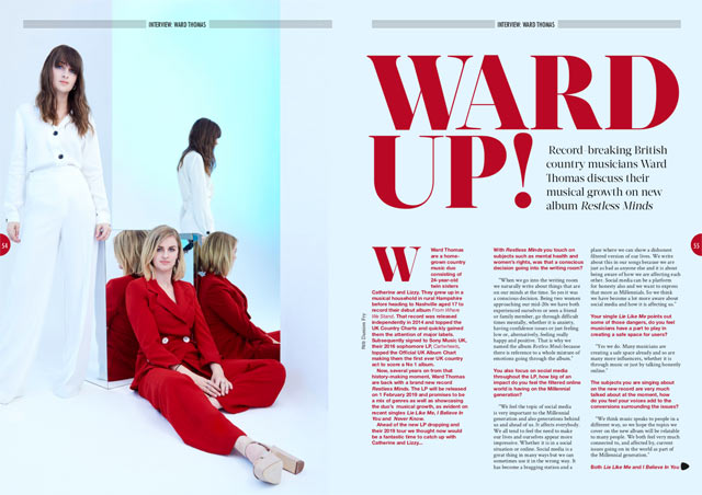 7624f3ea8 In our latest issue, record-breaking British country musicians Catherine  and Lizzy discuss their musical growth on new album 'Restless Minds'