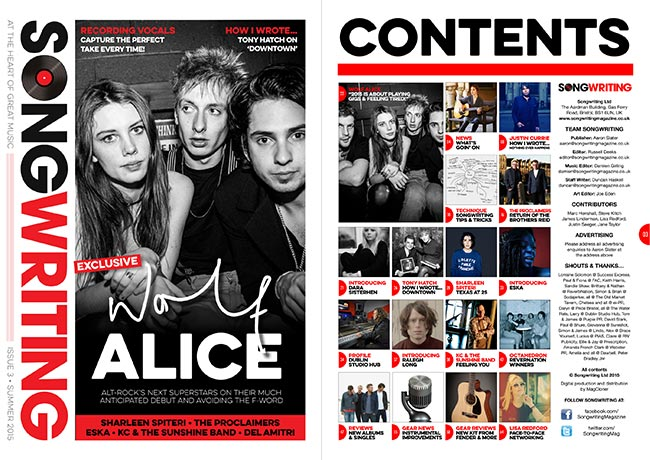 Songwriting Summer 2015 cover & contents